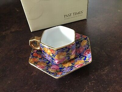 Past Times Beautiful Miniature Cup And Saucer Floral Flowers Pink Gold Rim Boxed • 5.99£