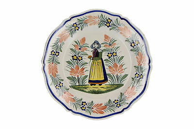 Henriot Quimper Plate Hand Painted Woman Design French Pottery 25 Cm • 19.95£