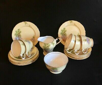 Vintage Aynsley China 'Bluebell Time, Woodland Theme Pale Yellow (Part) Tea Set' • 25£