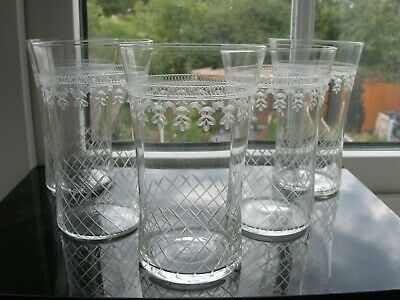 Pall Mall/Lady Hamilton - Five Glasses/Tumblers - Cut/Etched C1910. • 45£