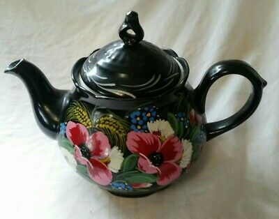 Teapot Traditional Barge Narrow Boat style Hand Painted Flowers19cm Tall • 35£