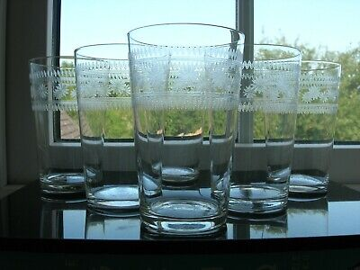Antique - Six  Star  Etched Water Glasses - Lightweight - C1910 • 55£