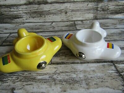 Vintage Honiton Pottery Egg Cups - Aeroplanes X 2 White And Yellow • 10£