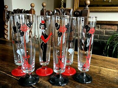 Stunning Set Of Six Long Art Deco Cocktail Glasses • 55£
