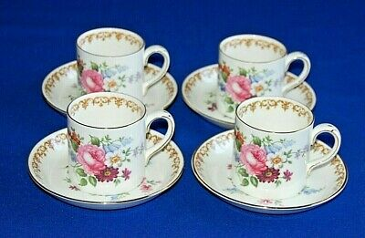 Crown Staffordshire England's Bouquet Set 4 Coffee Cups & Saucers. 1st Quality.  • 26.99£