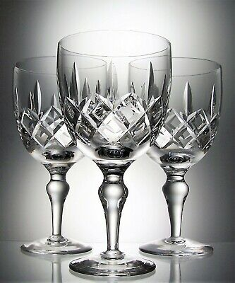 Three Large Crystal Cut Glass Baluster Stemmed Wine  Water  Goblets - 325 Ml • 15£
