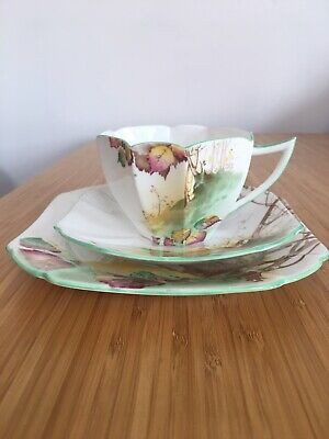 "Shelley Bone China Tea Cup, Saucer And Plate. ""Queen Anne  Shape, Autumn Leaves • 50£"