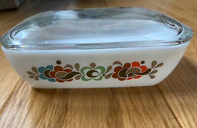 Vintage 70s Pyrex Carnaby Butter Dish With Glass Lid • 12£