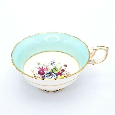 Vintage Hammersley & Co. Bone China England Aqua Gold Floral Tea Cup  • 4.42£