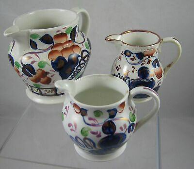 Vintage Pottery Hand Painted Jugs X 3- 12cm - Gold, Blue & Red • 16£