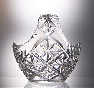 Unsigned Heavy Lead Crystal Cut Glass Flower Basket  Table Centrepiece - 15 Cm • 15£