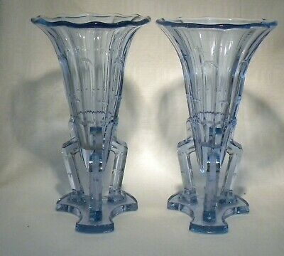 Art Deco  Blue Glass  Rocket Vase  X 2 • 49.99£