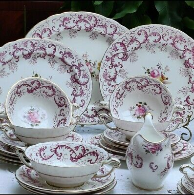 Royal Crown Derby Purple Scrolling Pattern With Posies Dinner Service A496.   • 425£