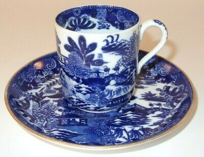Antique Copeland Blue & White Two Temples Coffee Can & Saucer C1900 VGC • 14.99£