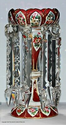 Victorian White Cut To Ruby Enamelled & Gilded Lustre • 275£