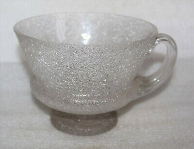 Victorian Crackle Glass Large Footed Bowl / Cup With Applied Ribbed Shell Handle • 9.99£