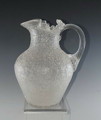5.75  Tall Clear OVERSHOT Crackle GLASS Pitcher Vase, Applied Handle, NICE! • 27£