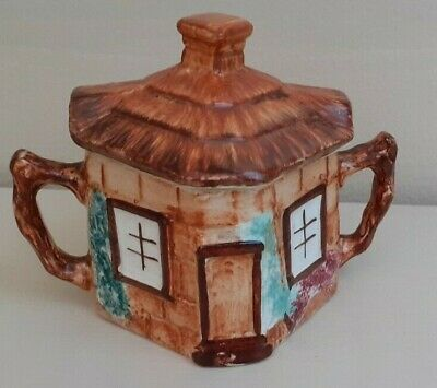 Collectable Vintage Keele St Pottery Cottage Ware Sugar Bowl With Lid • 7£