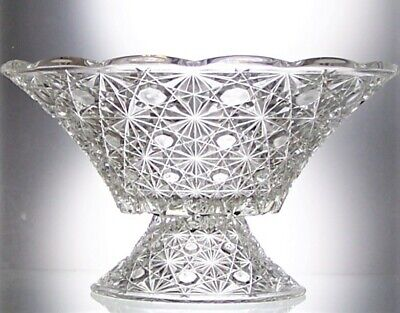 Stunning Hobnail Star Cut Glass Footed Fruit Bowl  Table Centrepiece - 26.5 Cm • 20£