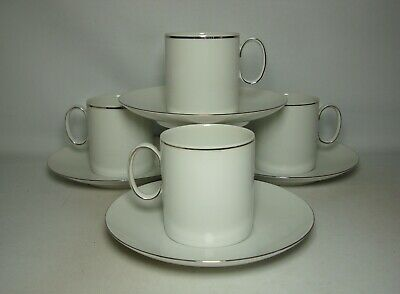 4 X THOMAS THIN PLATINUM BAND TEA CUPS & SAUCERS IN VERY GOOD CONDITION • 24.50£