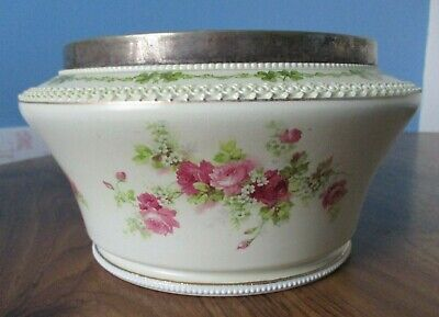 Antique George Jones Crescent Ware Salad Bowl With Epns Trim, Great Condition • 15£