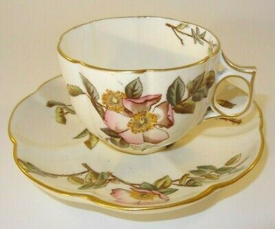 Antique George Jones Briar Gilded Wavy Edge Fluted Cup & Saucer  C1886 VGC • 34.99£