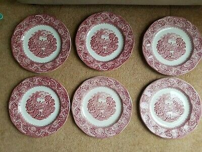 6 X Staffordshire Ironstone Dinner Plate Red & White River Scene Canterbury • 55£