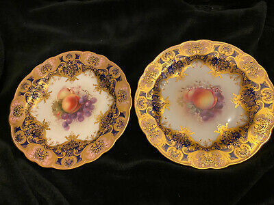 A/f  Antique Royal Worcester Plate/ Fruit Signed Dated 1914 • 199£