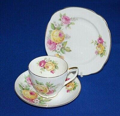 Queen Anne Manor Roses Trio, Tea Cup, Saucer & Side Plates, Qty Available,  • 8.99£