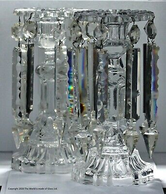 Pair Of Late Victorian Clear Glass Candlestick Lustres • 175£