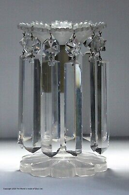 Small Late Victorian Cut Glass Candlestick Lustre • 65£