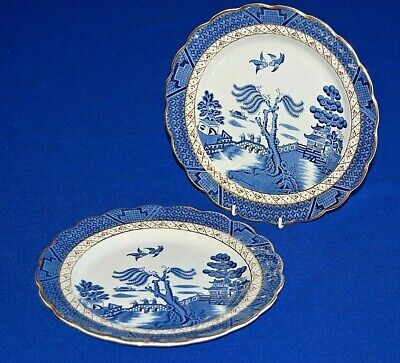 Booths 2 X Real Old Willow With Gilding Dinner Plates 25cms Diameter.  • 19.99£
