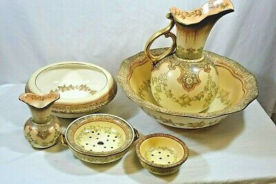Doulton Burslem Wash Basin & 6 Piece Set, Late 19th / Early 20th Century - TER • 45£