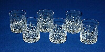 Set 6 Good Quality Cut Glass Crystal Whisky Tumblers Glasses. 8.5cms In Height.  • 24.99£