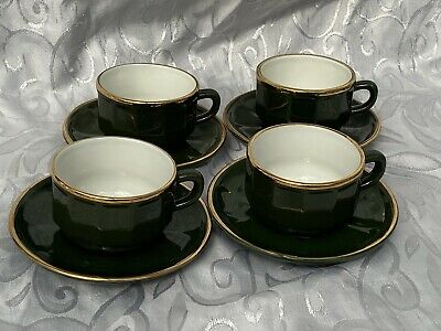 4 X  APILCO GREEN & GOLD SMALL COFFEE TEA CUPS AND SAUCERS FRENCH BISTRO WARE • 0.99£