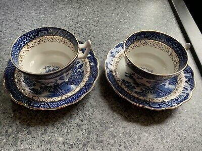 Booths Real Old Willow 2 Cups And Saucers • 5.80£
