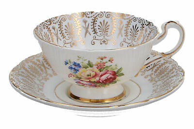 Paragon Cup & Saucer Floral Bouquet & Gold Filigree English Fine Bone China • 29.95£