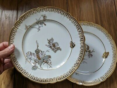 Pair Of 2 Frank Haviland France Osler Paris Limoges Gold Butterfly • 34.99£
