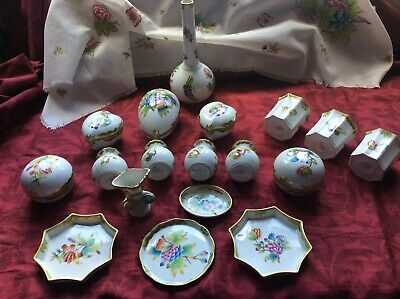 18 X Herend Victoria Pattern + VICTORIA Table Runner Various Ages All Perfect • 400£