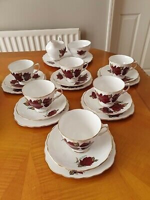Vintage Royal Vale Bone China Red Rose 21 Piece Tea Set - Pattern 7978 • 35£