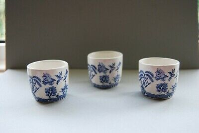 Blue And White China Egg Cups X 3 • 2.70£