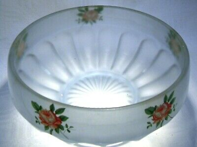 Art Deco  Bageley Blue Frosted  Glass  Rose Bowl  • 14.99£