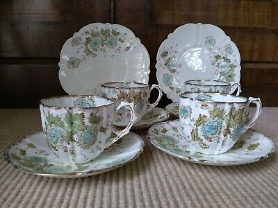 Antique Aynsley Very Fine Bone China Four Scalloped Tea Cups & Two Tea Plates • 16.50£