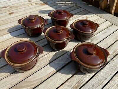Homestead Brown Vintage Denby Small Lidded Soup Dishes And Jug • 2£