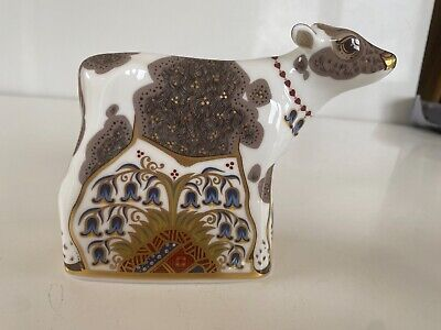 Royal Crown Derby Bluebell Calf Cow Paperweight - Gold Stopper • 40£