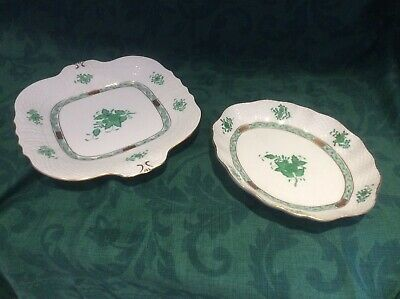 Herend Handpainted Apponyi Green Patterned Serving Dishes Perfect Condition  • 80£