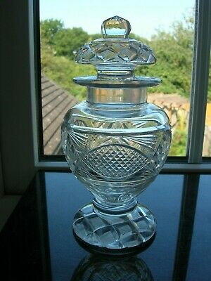 Antique - Cut Glass Sweetmeat Jar With Cover - C 1840 • 49.99£