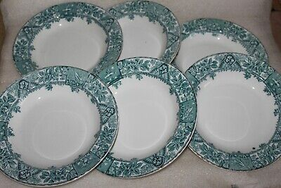 SIX AESTHETIC CERAMIC ART Co Ltd CROWN POTTERY QUEEN ANNE PATTERN SOUP PLATES • 14.99£