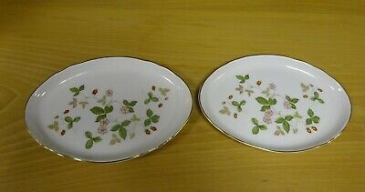 Wedgwood Wild Strawberry Bone China Shallow Oval Dishes (2) 9 1/2  Long (FEL) • 20£