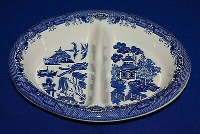 Churchill Willow Pattern Divided Serving Dish.  • 14.99£